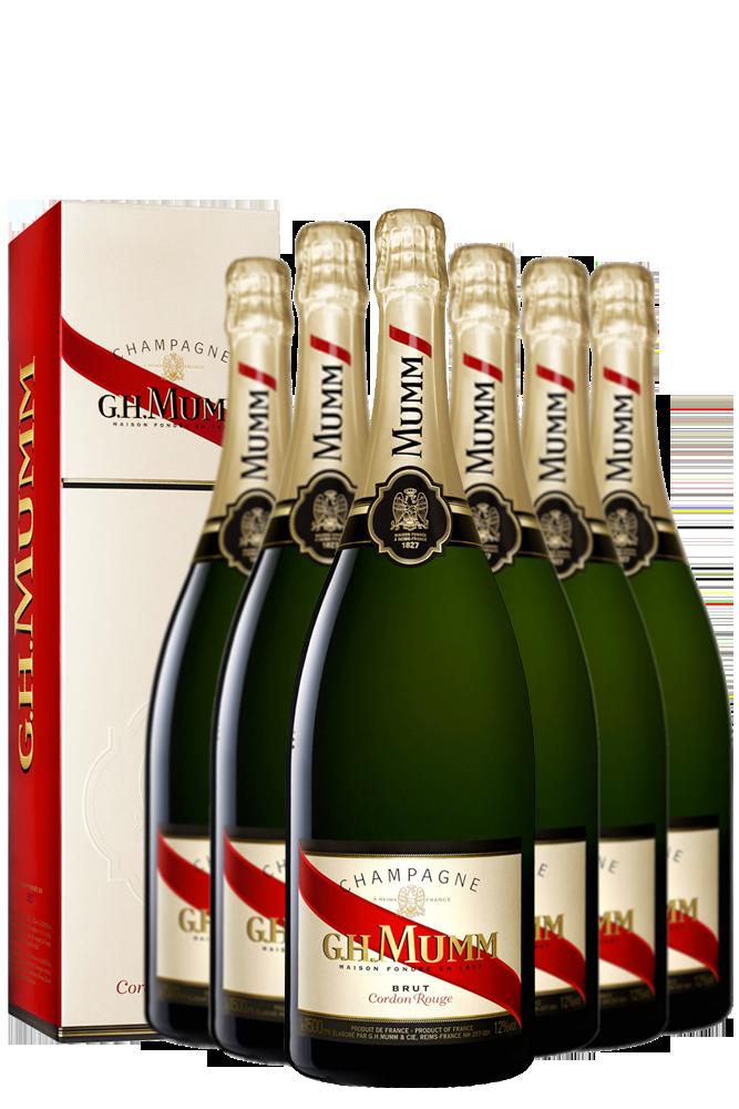 6 Bottiglie Champagne Mumm Cordon Rouge Cuvée Privilege Brut 75cl Con Astuccio